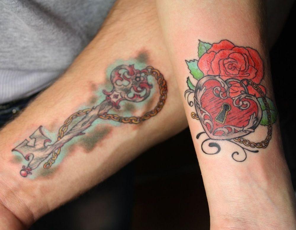 Татуировка замка с ключом