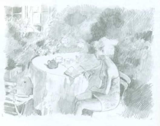 картина Питера Кухфельда - девушка сидит за столом в саду и читает книгу